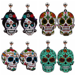 wholesale charms UK - Halloween Skeleton Earrings Acrylic Cross Earrings Fear Ghost Head Skull Earrings for Woman Party Favor