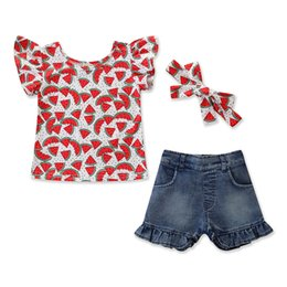 Girls Denim Bow Shirt Australia - New children's clothing girls summer watermelon print short-sleeved shirt + denim shorts suit