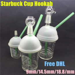 Oil Rigs Sandblasted Australia - Starbucks Cup glass bongs sandblasted glass pipes for smoking oil rigs glass water bongs and nail hookah1pcs  lot
