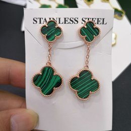 Accessories lucky online shopping - 2019 fashion girl lucky four leaf clover long earrings lady crystal zircon earrings exquisite accessories luxury designer jewelry women earr