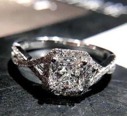 Princess cut gemstone rings online shopping - Victoria Wieck Sparkling Luxury Jewelry Sterling Silver Princess Cut White Topaz CZ Diamond Gemstones Women Wedding Cross Band Ring Gift