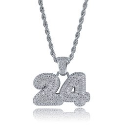 $enCountryForm.capitalKeyWord UK - wholesale Custom Bubble Number 24 Charm Pendant with 3mm Rope Chain Male Bling Pendants Necklaces Men's Zircon Hip Hop Jewelry