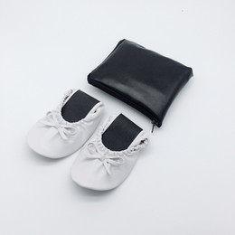 China PU leather Foldable royal wedding bridal folding slippers with free pouch logo printing suppliers
