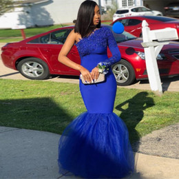 $enCountryForm.capitalKeyWord Australia - Royal Blue One Shoulder Mermaid Prom Dresses Lace Appliques African Dress Long Sleeve Evening Gowns Plus Size