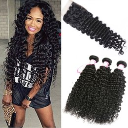 human hair deep curly weave closure 2019 - 8A Brazilian Deep Wave Curly Hair 3 Bundles with Closure Free Middle 3 Part Double Weft Human Hair Extensions Dyeable Hu