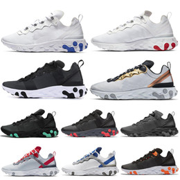 metallic body art Australia - 2020 Triple Black React Element 55 men women running shoes Metallic Gold Midnight Navy mens Designer trainers Athletic Sports Shoes hot sale