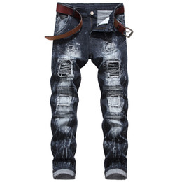 Wholesale american style jeans for men for sale – denim Mens Jeans New Fashion Elastic Personality Motorcycle Style Patchwork Denim Trousers Ripped Jjeans for Men Stretch Ripped