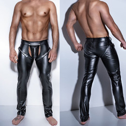 Wholesale sexy men leather pant for sale – dress Sexy Men Skinny Faux PU Leather Pants Shiny Black Trousers Nightclub Stage Performance Singers Dancer Open Front Leather Pants