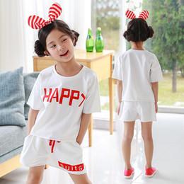 Suit T Shirt Short Australia - New sports suit big boy Korean version of the girl 2 piece set cotton T-shirt + shorts set 1758