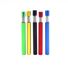 cheap herb pipes UK - Spring Tobacco Pipe Wholesale Cheap Mixed Colors Herb Snuff Metal Aluminum Herb Pipe Cigarette Holder Smoking Filter