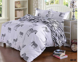 zebra print bedding Australia - Wholesale- 3d black and white zebra bedding set queen double single size duvet cover flat sheet pillow case 3pcs bed linen set
