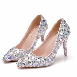 $enCountryForm.capitalKeyWord Australia - Crystal Queen Crystal Shoes Cinderella Women Heels Evening Party Glittering Round Toe Custom Silver Rhinestone Wedding Pumps