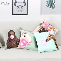 Plain Cotton Cushions Australia - Cartoon Animals Decorative Pillows Blowing Bubbles Pig Dog Printed Cushion Cover Sofa Car Polyester Pillow Cover Home Textile Pillow Case