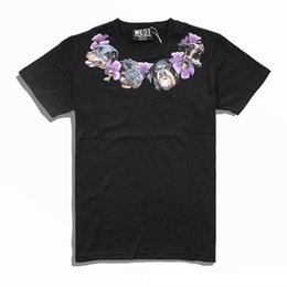 $enCountryForm.capitalKeyWord Australia - 2018 new fashion brand high-end men Casual neckline Dog necklace purple Flowers printing T-Shirts men cotton round neck short sleeve t shirt