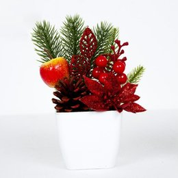 $enCountryForm.capitalKeyWord Australia - Christmas Bonsai Artificial Desktop Potted Plant Ornaments Innovative Small Gifts Pinecones Berries Table Scenes Decorations