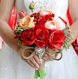 $enCountryForm.capitalKeyWord NZ - Red Silk Flowers Bridal Bouquet Cheap 2019 Bridesmaids Bouquets Of Mariage Garden Formal Wedding Accessories Handholding Home Decoration