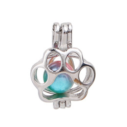 $enCountryForm.capitalKeyWord Australia - Mini Copper Dog Paw Pearl Cage Pendant Essential Oil Diffuser Bead Cage Lockets Necklace Charms for Oyster Pearl