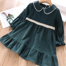 $enCountryForm.capitalKeyWord Australia - Autumn new Korean girls dress Doll collar lace corduroy wooden ear autumn dress