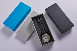 Elegant Gift Box Packaging NZ - Wholesale free shipping Top quality luxury brand big Blue jewelry brown gift classic elegant leather strap watch box matrix boxes packaging