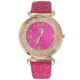 Wholesale Women Analog Leather Strap Crystal Rhinestone Buckle Clasp Adjustable Quartz Luxury Round Dial Wrist Watch