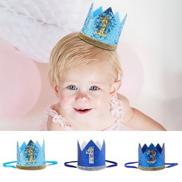 Wholesale Boy Blue Silver Birthday Hat Girl Gold Pink Priness Crown Number st Year Old Party Hat Glitter Birthday Headband