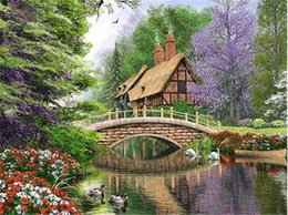 house forest painting Australia - Diy diamond painting cross stitch kit rhinestone mosaic home decor gift forest lake house full round&square diamond 5D embroidery BB0777