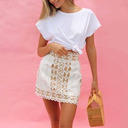 white asymmetric shorts Australia - 2020 color Show thin matching hollowed-out women's short skirt high waist stitching Willow nail mini skirt women