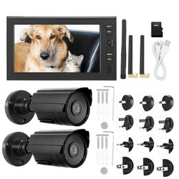 Camera Lcd Display Security NZ - 7 Inch LCD Wireless WIFI 4CH Security Monitor System Display+Camera 2pcs IR Cameras with TF Card