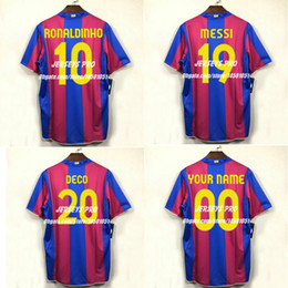 34a067f3f Camiseta de futbol Lionel Messi Ronaldinho 2007 2008 Number 19 Camp Nou 50  anniversary retro Soccer Jerseys Football Shirts kit Maillot Deco