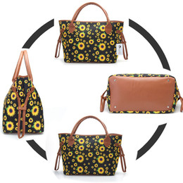 China women sunflower tote bag 20 inch Handbag Flower Print canvas Large Ladies Casual Tote Canvas Hangbag Casual Purse Weekender Bag LJJK1716 cheap canvas print wholesale suppliers