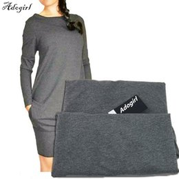 $enCountryForm.capitalKeyWord NZ - Long-sleeved Slim Bottoming Warm Dress 2019 New Hot Sale Solid Color Round Neck Casual Bag Hip Fleece Dress Large Size