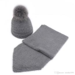$enCountryForm.capitalKeyWord UK - Artificial mink cashmere baby Child Winter hat scarf set Real Fox Fur Pom Poms Ball Cap Warm Beanies Skullies beanie hat scarf suit
