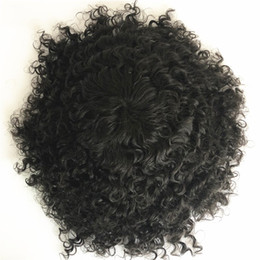 replacement hair NZ - Deep Curly Toupee for Men Full Skin Pu Men Toupee 8x10 Black Curly Human Hair Men Wig Replacement Systems Natural Hair Hairpiece