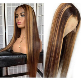 highlights human hair wigs Australia - Celebrity Wigs Lace Front Wig Straight 10A Omber Highlight Color Chinese Virgin Human Hair Full Lace Wig for Black Woman Free Shipping