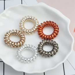 hair spirals bands 2019 - Elastic Hair Bands Spiral Shape Ponytail Hair Ties Gum Rubber Band Rope Telephone Wire Accessories for girls discount ha