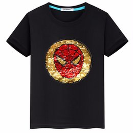 $enCountryForm.capitalKeyWord NZ - 2019 new summer models flip sequins Spider-man boy short-sleeved T-shirt tops tide