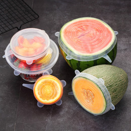 Startseite 6 PC / Set Universal Food-Silikon-Abdeckung Wiederverwendbare Silikonkappen Stretch Deckel für Kochgeschirr Lebensmittel-Topf Küchenzubehör im Angebot