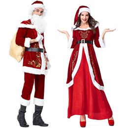 red white cosplay wigs NZ - New Year Christmas Cosplay Costumes Santa Claus Deluxe Velvet Red Jacket Dresses White Beard Wig For Adults Women Men Clothes