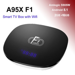 Android Media Player Quad Australia - A95X F1 Android 8.1 TV Box 2GB 16GB Amlogic S905W Quad Core Wifi TV Boxes 4K Streaming Media Player 2G Smart Mini PC