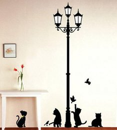 Ancient Lamps Australia - Popular Ancient Lamp Cats and Birds Wall Sticker Wall Mural Home Decor Room Kids Decals Wallpaper