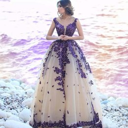 $enCountryForm.capitalKeyWord Australia - Lace 2019 Elegant Long Prom Gowns Ivory with Purple Appliques Arabic Formal Wear Party Dress European Fashion Sheer Neck Chic Evening Gown