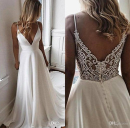 $enCountryForm.capitalKeyWord Australia - 2020 A Line Beach Wedding Dresses Spaghetti Straps Delicate Lace Back With Beading Buttons Simple Summer Bridal Gown Plus Size Wedding Dress