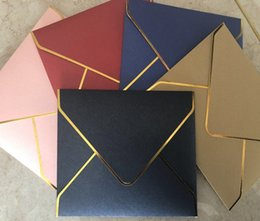 $enCountryForm.capitalKeyWord Australia - 10pcs lot New product simple high-end knot wedding western European business invitation gilded edge exquisite thick envelope set