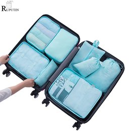 wire meshes Canada - RUPUTIN 8Pcs set Travel Packing Cube Bags Luggage Organizer Clothes Storage Bags Underwear Bra Sock Pouch Travel Mesh Bag In Bag