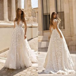 Wholesale sexy boho skirts resale online - Vintage Bohemian Lace Applique Wedding Dresses Deep V Neck Backless Short Sleeves Bridal Gowns Sweep Train Boho Wedding Gown