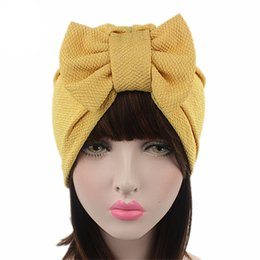 Yellow Beanies Australia - Indian Female Headwear Beanies Multicolor Caps Bowknot Turban Hats Solid Color Fashion Women Cotton Stretchy Muslim Hat