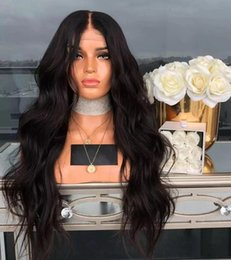 Cheap Middle Part Lace Wig Australia - Cheap Synthetic Lace Front Wigs for Black Women Middle Part Black Body Wave Hair Glueless Natural Lace Wig High Temperature Hair Full Wigs