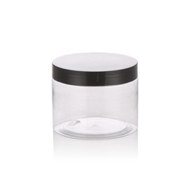 $enCountryForm.capitalKeyWord Australia - Free shipping 50g 50ml 1.8oz Round Empty Refillable Clear Plastic Jars Pot With Black Screw Lids For Makeup Storage Eye Shadow Container