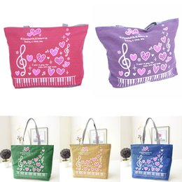 Purple Tote Bags Wholesale Australia - MoneRffi Canvas Shoulder Bag Tote Women Heart-shaped Handbag Love Big Note Messenger Bag Shopping Student School Girl