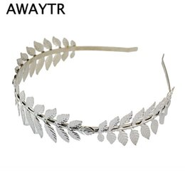 $enCountryForm.capitalKeyWord Australia - Fashion Gold Plated Metal Leaf Headband Hairband For Women Wedding Hair Accories Tiara Elegant Silver Leaves Head Piece